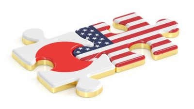 Japan and USA puzzles from flags, 3D rendering