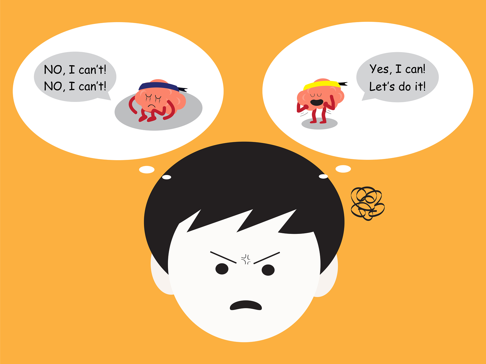 brain cartoon characters vector illustration image showing how man has confused emotion when brains debating together about self confidence (conceptual image about human self confidence)